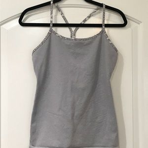 Lululemon Power Y Tank - Grey and white stripe